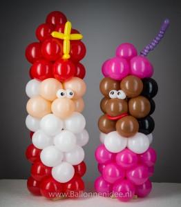 Mini Sint en Piet zuilen
