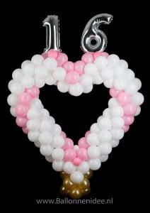 Sweet 16 hart met folieballon cijfers