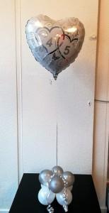 "Helium Hartjes ballon met ""45"" stikkers"
