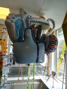 Een paar van de folieballonnen in onze winkel.